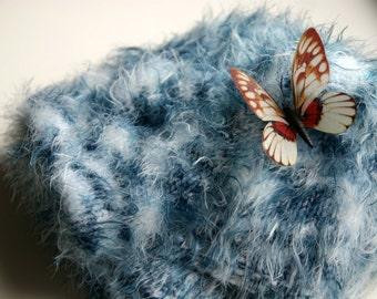 Knit Baby Blanket, Blue Baby Blanket, Baby Boy Blanket Knit, Hand Knit Baby Blanket, Baby Boy Shower Gift