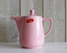 Vintage coffee pot. Pink. Melitta. Coffee pot. 1960s. Carafe server. Vintage kitchen. Ceramic jug. Coffee jug. Retro coffee pot. D345