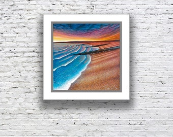 Paper print with mount 'South Coast Sunset'