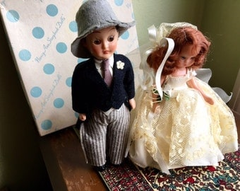 Nancy Ann Bride and Groom — Hard Plastic - 1950s with Box