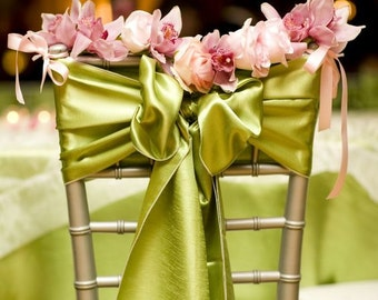 "50 pcs SATIN CHAIR Bow / Sash (6""x108"") For Wedding Party Banquet Special Event 20+ colors"
