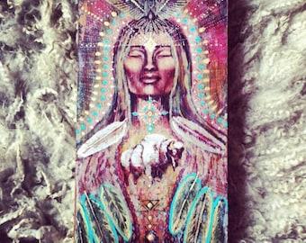 White Buffalo Goddess of the Bird Tribe Original Hand Painted Wood Print