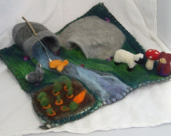 Needle felted gnome playscape.