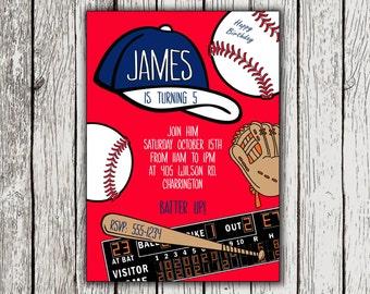 Baseball Invitation, Baseball Birthday Invites, Printable Baseball Party Invitations, Baseball Birthday Invitation, Baseball Birthday Party