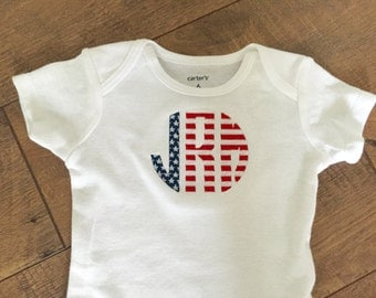 Monogrammed Stars and Stripes Onesie- Longsleeve or Shortsleeve