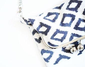 "Bag ""Jules"" - small model - color diamond blue and beige - clasp metal retro"