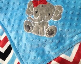 Elephant Blanket, Personalized Baby Blanket, Turquoise, Red Chevron Minky Blanket, Keepsake Gift