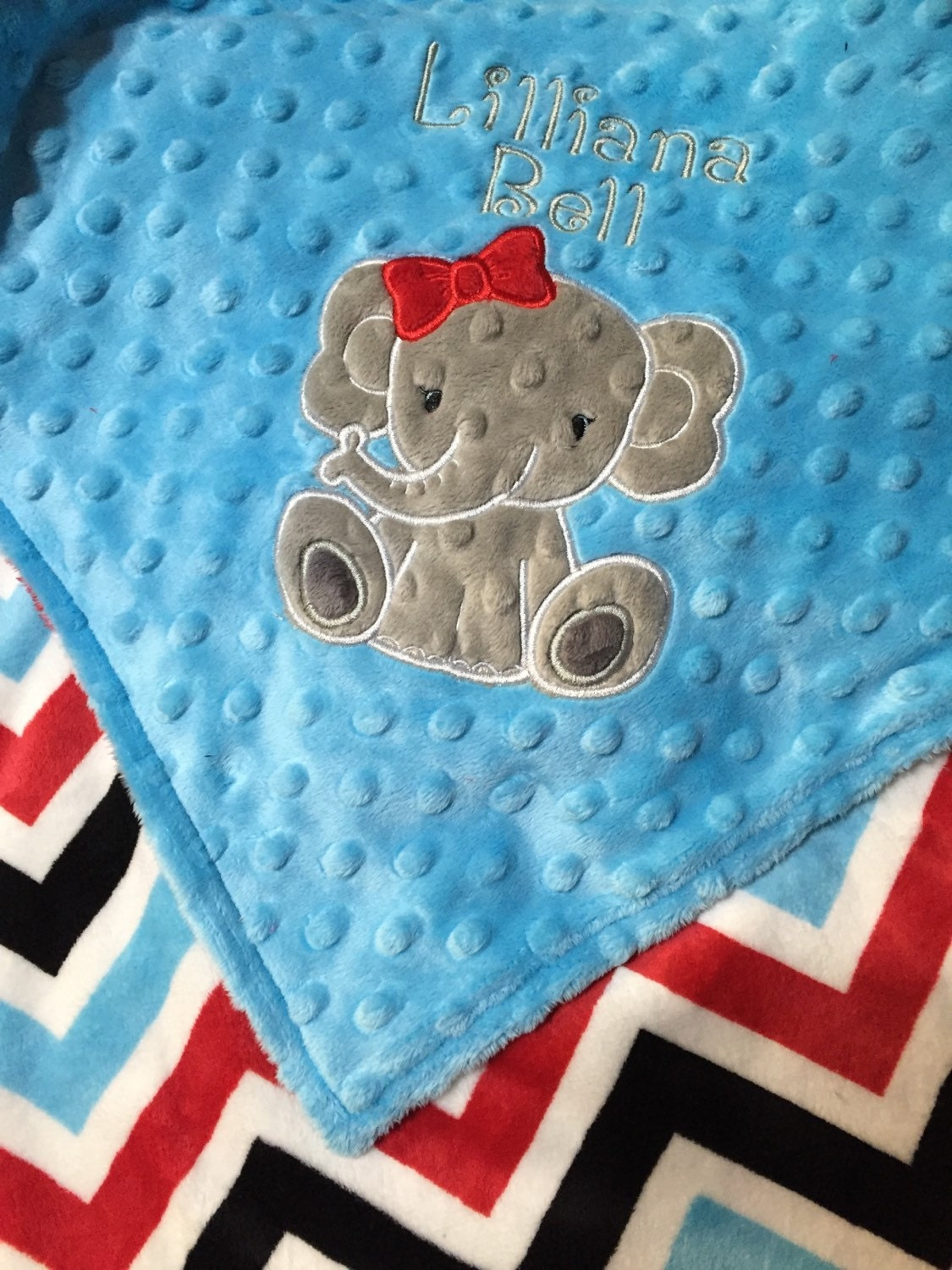 Elephant Blanket Personalized Baby Blanket Turquoise Red