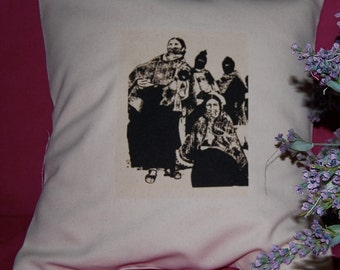 Zapatista Mujeres - Handmade Pillow - B/W on Linen Cotton