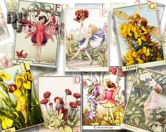 Vintage Flower Fairies Alphabet Fairies Digital Collage Sheets -  Printable Cicely Mary Barker's Flower Fairies - 24 Images INSTANT Download