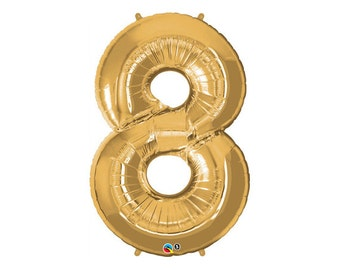 GOLD NUMBER 8 BALLOON 86cm - Number Eight (8) Foil Gold Balloon - Helium  (86cm / 34 Inches)