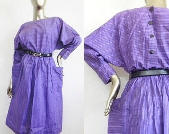 purple cotton dress \ big pockets \ dolman sleeves