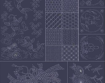 Japanese Sewing Quilting  Fabric - Sashiko Pre-printed Panel - Joyful Koi & Japanese Motifs - Navy