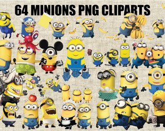Minions, Despicable Me Cliparts, 64 Images in 300 PPI PNG Transparent Background, Printable Digital Graphics