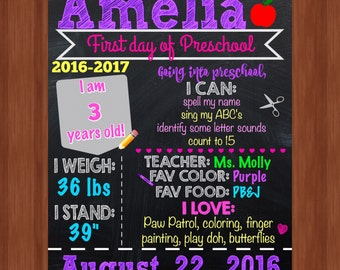 First Day of Preschool Sign - Girl First Day of Preschool - Preschool - First Day of School - DIGITAL FILE - First Day of School Sign