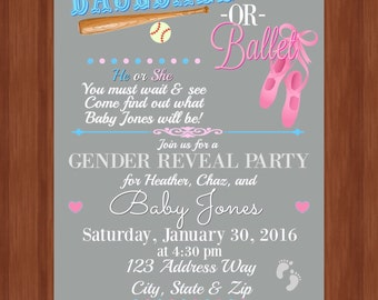 Gender Reveal Party Invitation - Baseball or Ballet - He or She - What will baby be? - Digital Item - Invitation - Gender Reveal Party