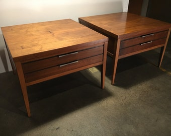 Lane Tuxedo Mid Century Pair of Side Tables