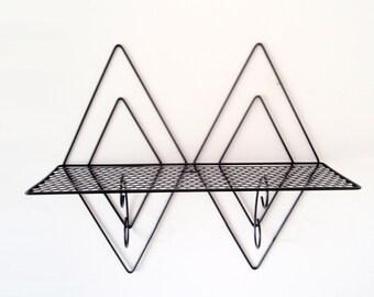 Black Metal Wall Shelf/ Double Diamond Display Shelf/ Atomic Mid Century Wall Rack/ Wire Metal Wall Rack/ Curio Shelf/ Pierced Metal Shelf