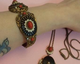 Amazing Vintage Antique Czech art deco black red white glass enamel necklace and matching bracelet parure 1920s