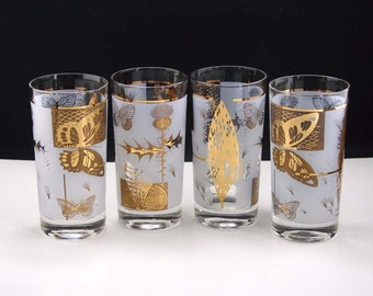 NEW from Vintage Stock Federal Glass Co Fine Blown Glassware Golden Meadow S-301 Butterfly Thistle Tumblers Set of 4