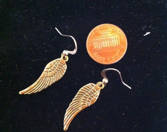 Wing Earrings, Gold Plated Feather Wings, Gold Plated Wing Earrings, Feather Jewelry, Women's Earrings