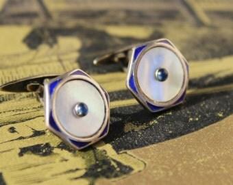 Vintage cufflink art deco enamel 1930 blue stone  Alpacca