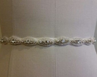think 1/4 of a inch bridal sash, crystal beaded bridal belt, flower girl sash