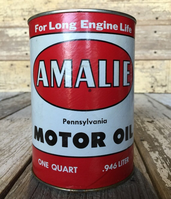 Lubricant Suppliers Y Mail: Items Similar To Vintage Amalie Motor Oil Can Metal Tin 1
