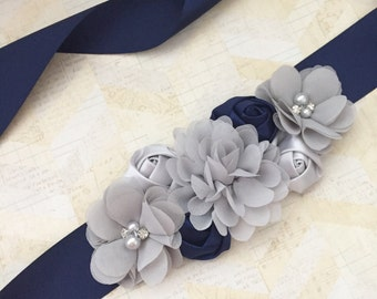 Navy and grey sash,bridal sash,maternity sash,flower girl sash,navy sash,boy maternity sash,blue maternity sash