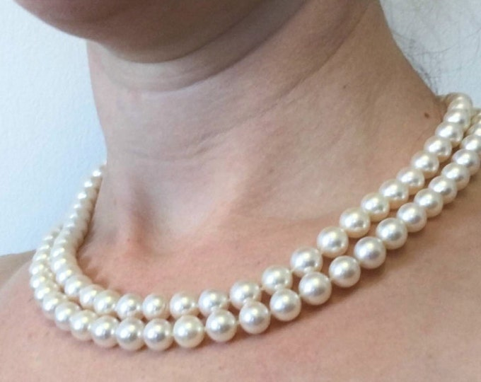 Freshwater Pearl Necklace-Double Wrap Pearl Necklace-Pearl Jewelry-Anniversary Gift-Pearl necklace wedding-Bridal Necklace-Bridesmaids