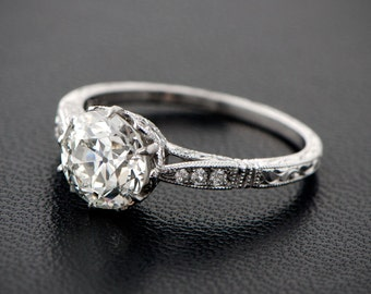2.90ct Solitaire Old Mine Cut Diamond Engagement Ring - Estate and Vintage Engagement Ring