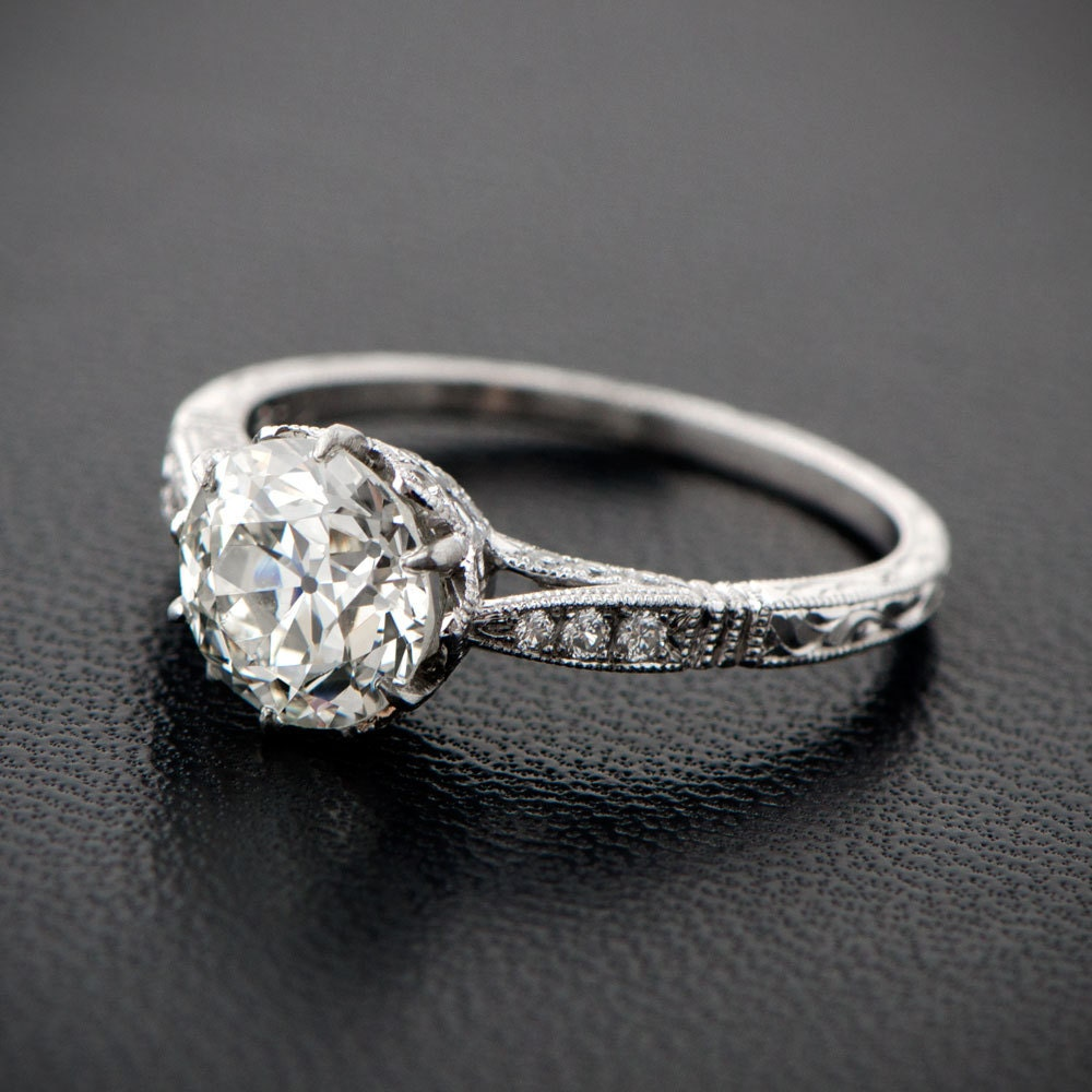 2 90ct Solitaire Old Mine Cut Diamond Engagement Ring Estate