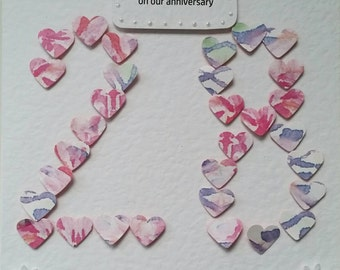 Handmade and personal heart anniversary, (or age) card