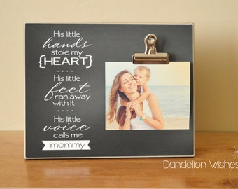 Personalized Picture Frame, Mother's Day Gift Idea For Mom {His Little Hands... His Little Heart... Calls Me Mommy} Custom Wood Photo Frame