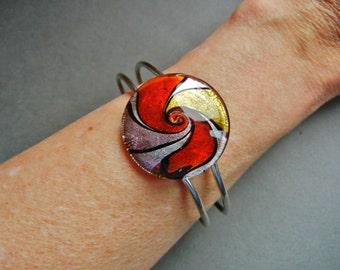 Murano glass hinged bangle, murano glass hinged clamper, murano glass clamper, murano glass hinged bracelet, venetian glass clamper, clamper