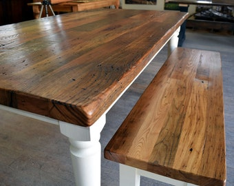 """Reclaimed Chestnut Dining Table with 2"""" Thick Top 
