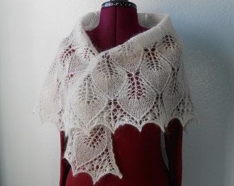 Hand Knitted Triangle Lace Shawl With Leafes, Wrap