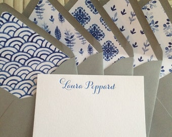 Personalized Letterpress Stationery with Watercolor Liner Set