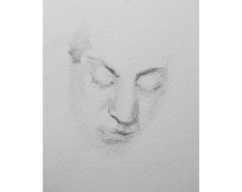 Head - 4 x 5.5, graphite/wash on paper