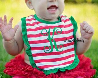Girls christmas ruffle bib red and white stripes green monogram monogrammed initial custom name