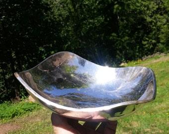 Silver Bowl Handwrought Mexican Silver Copper Square Bowl Rare Belleza Silverplate 8 inch Dish