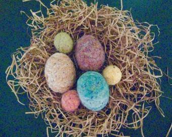 Primitive FOLK ART EGGS--Set of 6 Assorted Quaint Folk Art Eggs-Needle Felt from Wool