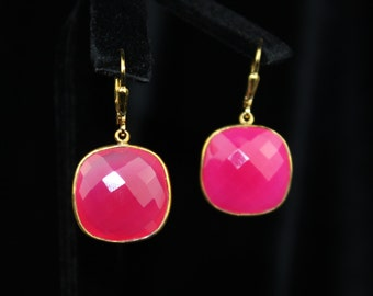 Bright Pink Chalcedony Earrings