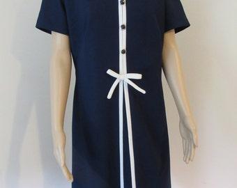 """Vintage 1960's Navy & White Dress -  Chest 42"""" - Lovely!!"""