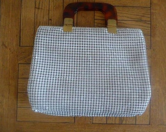 Vintage 1960's Handbag - Mesh With Double Lucite Handles - Nice!!