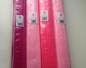Surplus stock sale - 4 Rolls of Luxury Pink Italian Crepe Paper