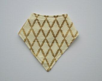 bandana bib - cream and gold diamond