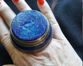RESERVED Lapis Statementi Ring, Sterling Silver, Large 2 Two-Finger Ethnic