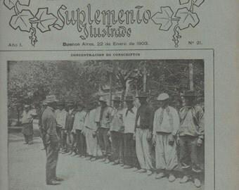 La Nacion, Magazine Back Issue, Suplemento Illustrado, Buenos Aires, Argentina, January 22, 1903, good shape, illustrated, in Spanish