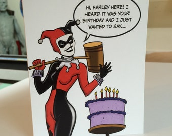 Classic Harley Quinn Birthday Card|Harley Quinn|Birthday Card|Funny